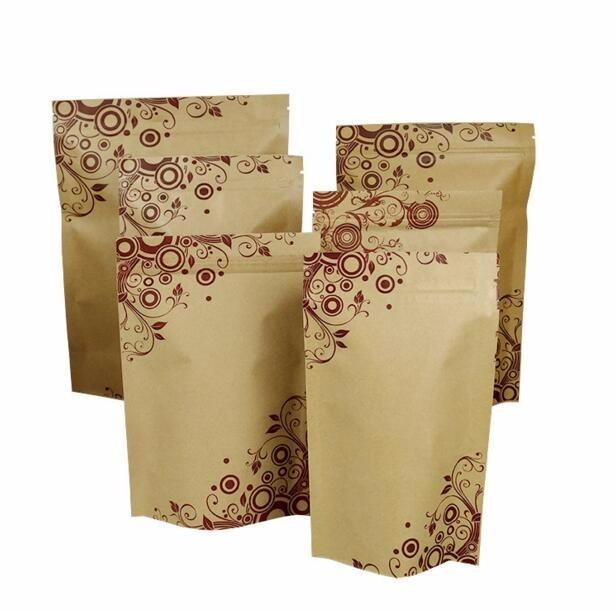 Alice Size 18 26cm Kraft Paper Gift Bag For Tea Powder Nut Food Cookie Packaging Zip Lock Bags Brown Stand Up In Wring