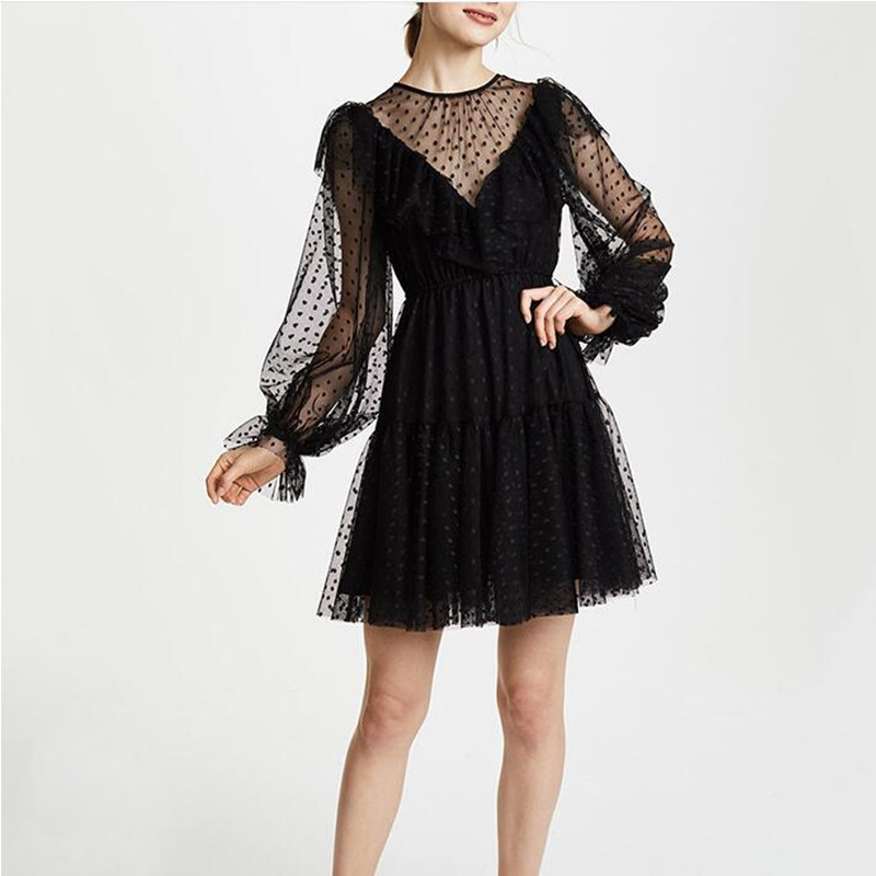 Sexy Long Sleeve Black Mesh Lace Mini Dress Casual Polka Dot Ruffled Dress Sexy Long Lantern Sleeve Mesh Sheer Party Club Dress in Dresses from Women 39 s Clothing