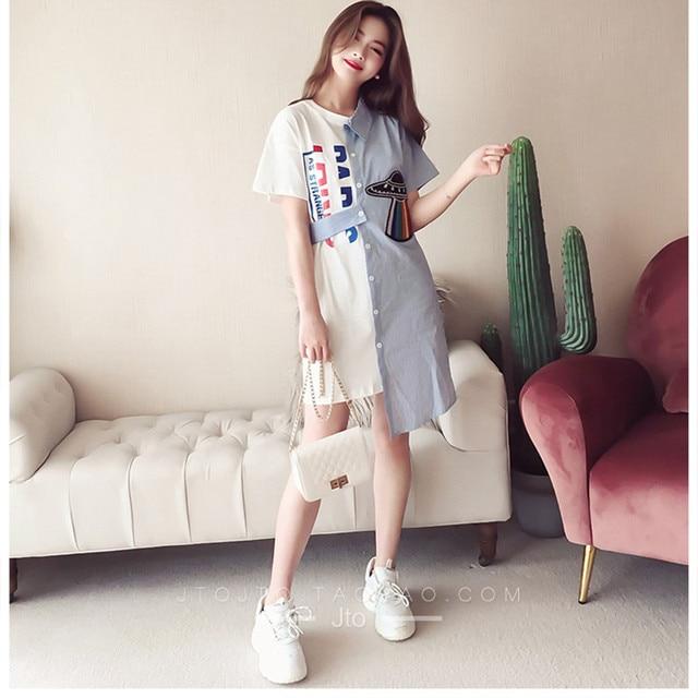 7191addcdac 2019 Spring and Summer Women Irregular Striped Shirt Dress Womens  Personality stitching trend Short Sleeve Mini Dress Vestidos