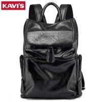 KAVIS Brand Patchwork Large Capacity Mens Leather Backpack For Travel Casual Men Daypacks Leather Travle Backpack mochila