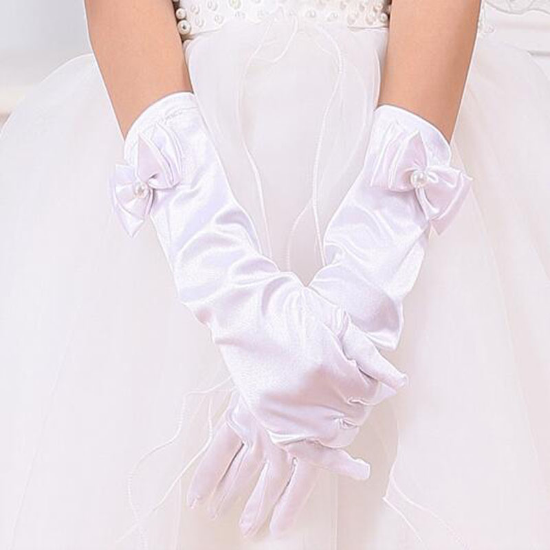 Formal Pageant Wedding Lumumi Girls Satin Bowknot Gloves Princess Gloves Bridemaid Gloves for Kids Party Cream white