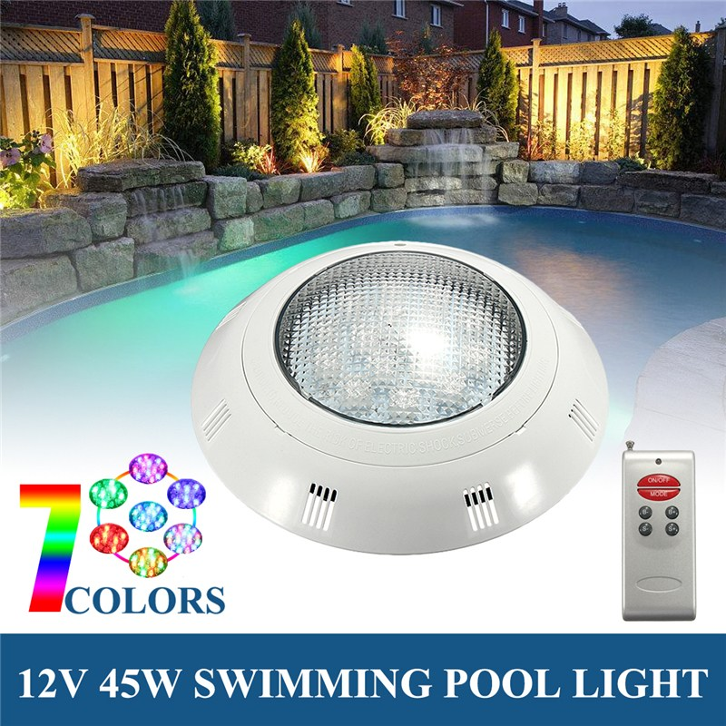12V 45W RGB LED Swimming Pool Light Wall Mounted Underwater With Remote Controller IP68 Waterproof Outdoor Lamp Pond Light 16w led rgb underwater light waterproof ip68 fountain swimming pool lamp colorful change with 24key ir remote