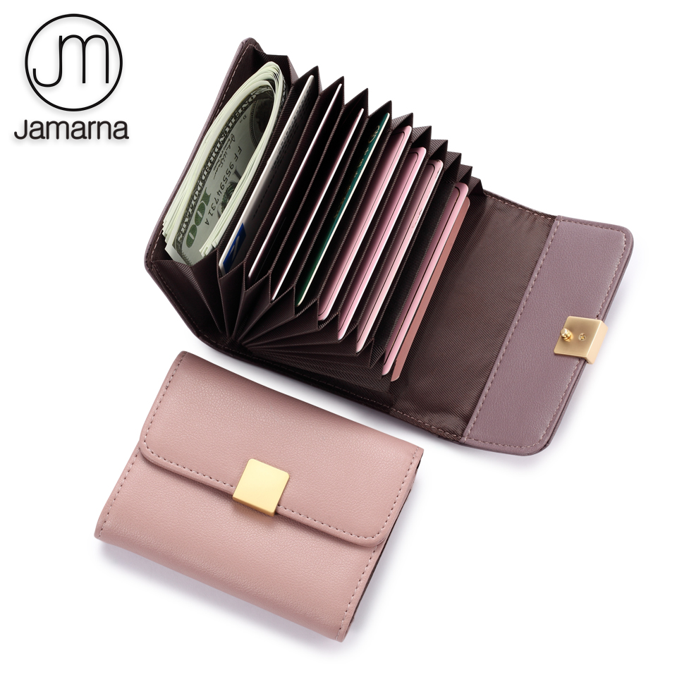 Jamarna Card Holder Genuine Leather Organ Folds Card Holder Leather Case For Cards Organizer Fashion Design Pink Purple protective pu leather case w card holder slots for lg nexus 5 deep pink