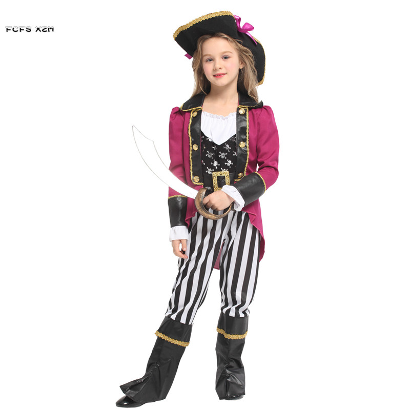 Girls Halloween Pirates of the Caribbean Costumes Kids Children Pirat Cosplays Carnival Purim stage play Masquerade party dress