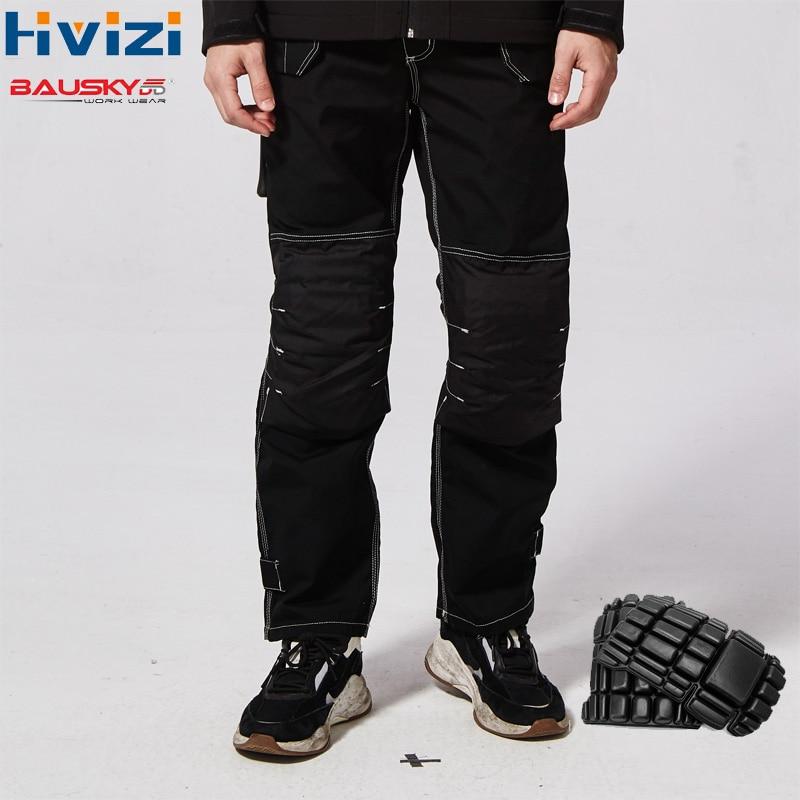 Calças de Trabalho Pretas dos homens Com Joelheiras Calças Dos Homens Calças de Vestuário de trabalho de Segurança de Trabalho Wear-resistant B129