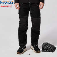 Men's Black Work Pants With Knee Pads Working Trousers Men Safety Workwear Pants Wear-resistant B129