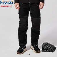 Männer Schwarz Arbeit Hosen Mit Knie Pads Arbeits Hosen Männer Sicherheitskleidung Hosen Tragen-beständig B129