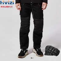Pantalones de trabajo negros para hombre con rodilleras pantalones de trabajo de seguridad para hombre Pantalones resistentes al desgaste B129