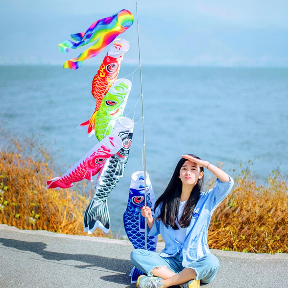 OCDAY 55cm Koi Nobori Waterproof Japanese Carp Windsock Streamer Hanging Colorful Fish Flag Decor Kite Koinobori For Children