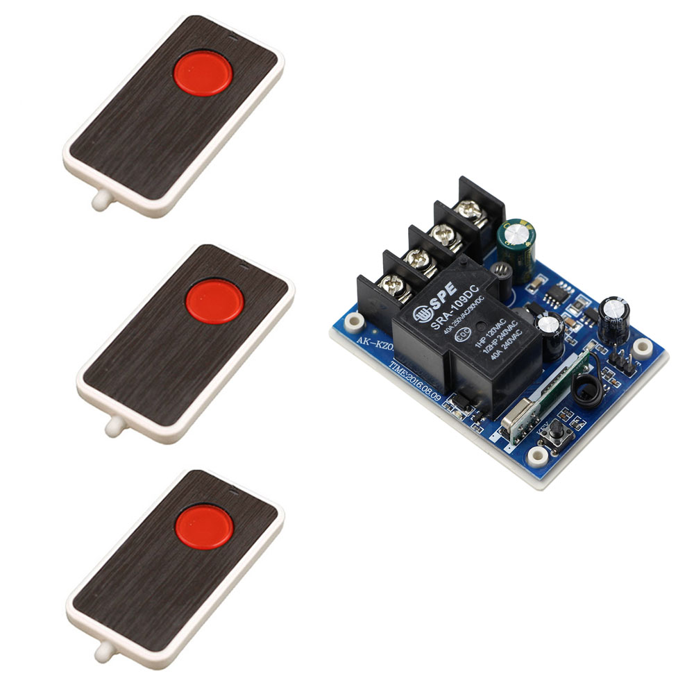 New DC12V 24V 36V 48V 30A 1CH Wireless Remote Control Switch System Receiver & 3pcs Remote Control Rolling Gate Electric Doors