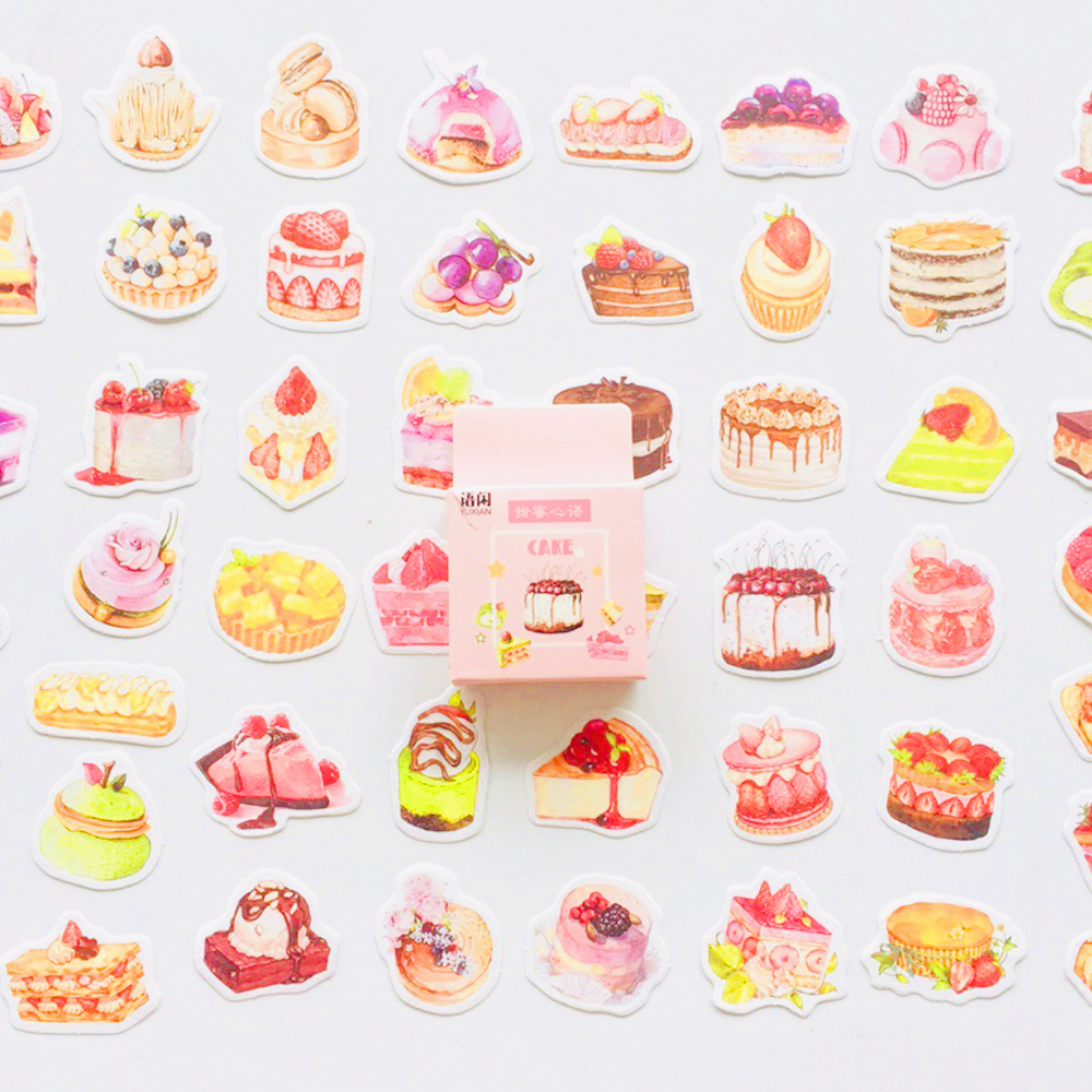 50 Stickers/Box Sweet Cake Dessert DIY Decorative Stickers Phone Bottle Decor Label Stickers