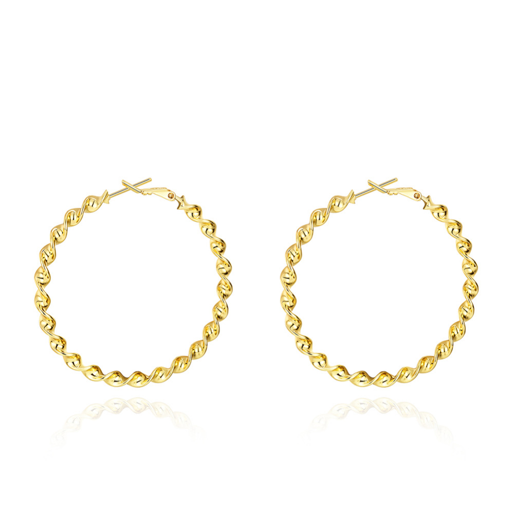 Trendy Women Real K Gold Plated Hoop Earrings Sterling Jewelry Hot Sell  Popular Luxury Styles Basketball