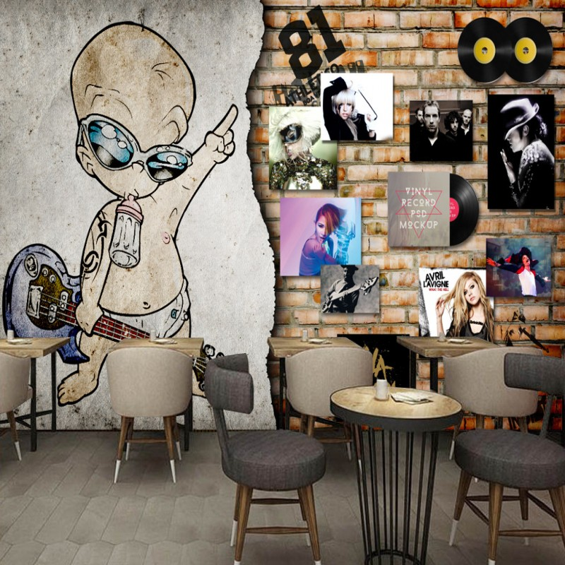 European Retro Rock Music Album Brick Wall Bar Backdrop night club decoration bedroom living room studio wallpaper mural  free shipping retro female star mural background wall bathroom studio home decoration artistic studio bedroom wallpaper