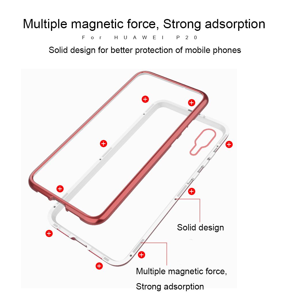 Magnetic Flip Phone Case with screen protector for HuaweiP20 Pro Clea (