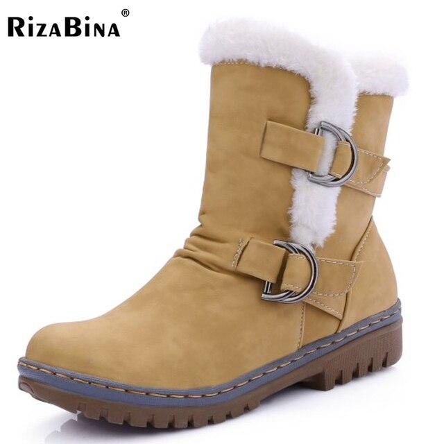 Rizabina mujeres botines punta redonda botas de mujer de piel caliente de invierno Botas de nieve Nueva Moda Hebilla Estilo de Calzado Zapatos de Tacón Bajo Size34-43