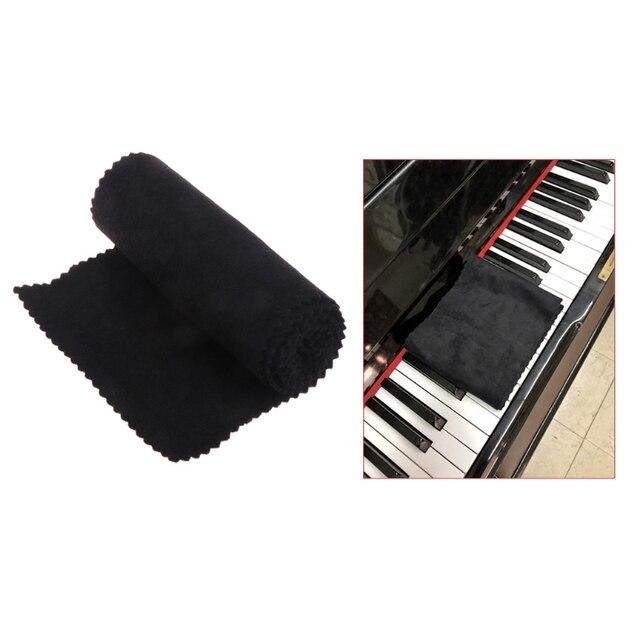 88 Keys Black Soft Piano Key Cover Keyboard Dust Proof Moisture Flannel Cloth
