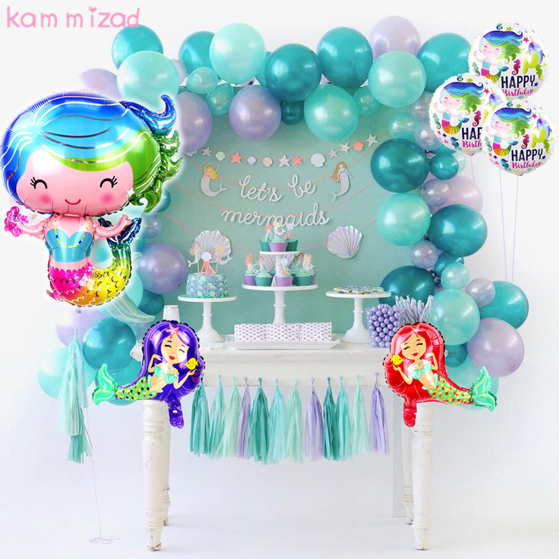 KAMMIZAD 30inch Mermaid foil Balloon Little Mermaid Birthday Party Decorations Ballon Baby shower Mermaid Theme party supplies button
