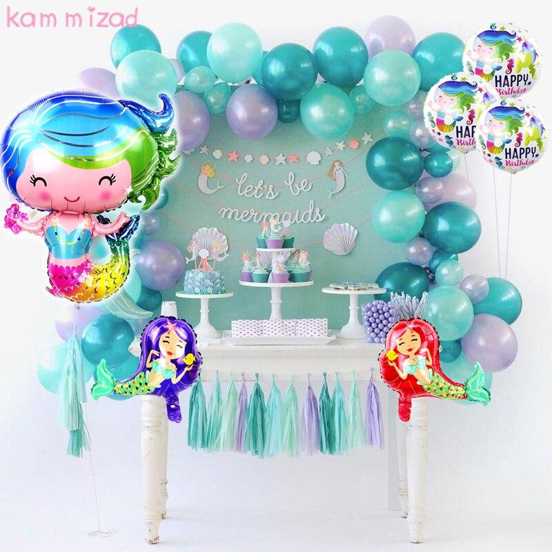 KAMMIZAD 30inch Mermaid foil Balloon Little Mermaid Birthday Party Decorations Ballon Baby shower Mermaid Theme party supplies