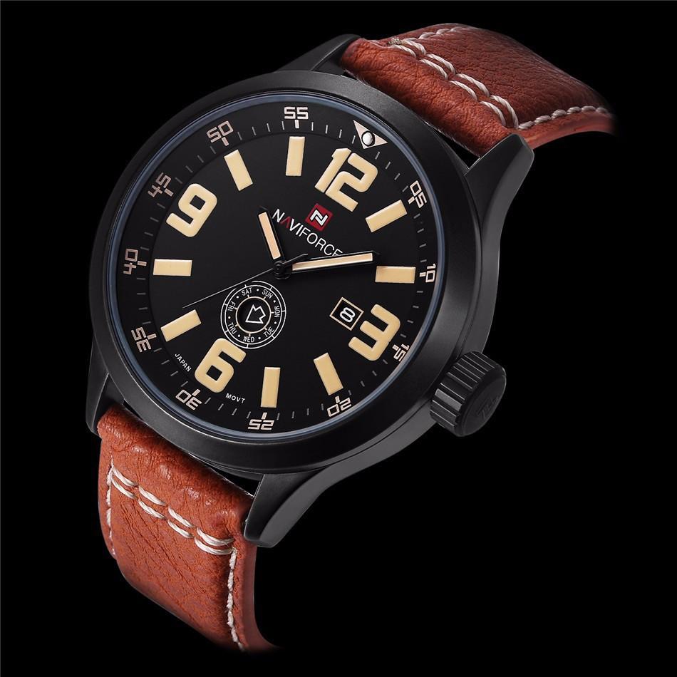 Prix pour 2016 Mens montres marque haut luxe NAVIFORCE hommes montre à Quartz étanche Sport militaire montres hommes en cuir relogio masculino