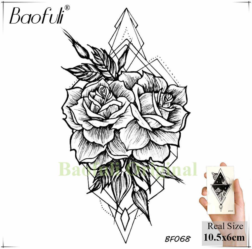 Baofuli hummingbird petal leaves tree temporary tattoo paper flower draw black tatoo body art arm diy