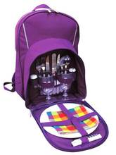 2 Person Camping Purple Sport Tartan Picnic Bag Backpack With Cooler Compartment, Detachable Bottle/Wine Holder Tableware Plates