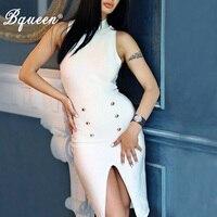 HEGO 2016 New Black Botton High Neck Split Celebrity Style Bandage Dress Sexy