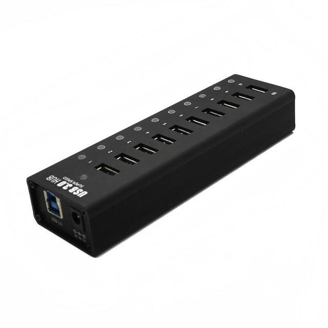 USB 3.0 10 Portas usb HUB-hub com 12V4A EUA/UE/REINO UNIDO/AU Adaptador de Energia preto Plug and Play Indicador LED + On/Off Switch HUB USB Combo