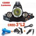LEVOU Farol XM-L 3 * L2 12000LM CREE Recarregável LED Farol Farol Acampamento Lâmpada Lanterna de Cabeça + Ac/Usb/Carregador de CARRO + 18650 Bateria
