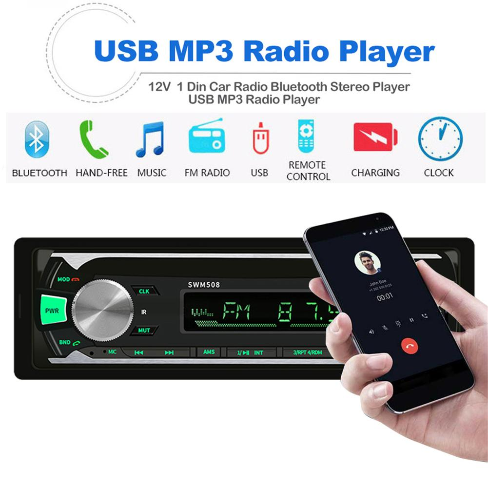 1 Din Car Radio Stereo Player Auto MP3 Player 12V FM Bluetooth Car Audio Receiver Aux SD USB MP3 MMC WMA Jsd 508 image