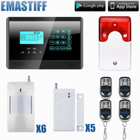 Ücretsiz kargo toptan 433 MHZ 6 PcsPIR ile kablosuz GSM ev Hırsız güvenlik alarm sistemi + 5 ADET manyetik kapı