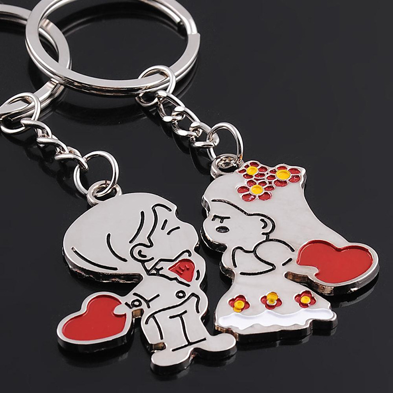 1 Pair Love Heart Keychain Keychain Alloy Keyring Keychain Lover New Creative Souvenir Key Holder For lovers