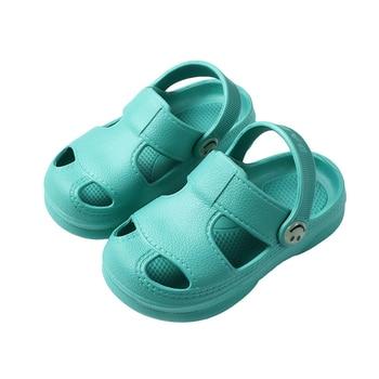 Kids Clogs Girl Shoes Plain Toddler Slippers Kids Beach Sandals EVA Baby Boys  Clog Shoes New Arrival Children Garden Shoes Girls-Leather bag