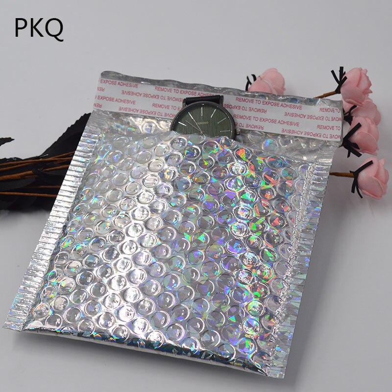 15x13cm Sliver laser Wrap Glitter Metallic Bubble Mailer Bag 100pcs lot Gift Bag Aluminum Foil Seals
