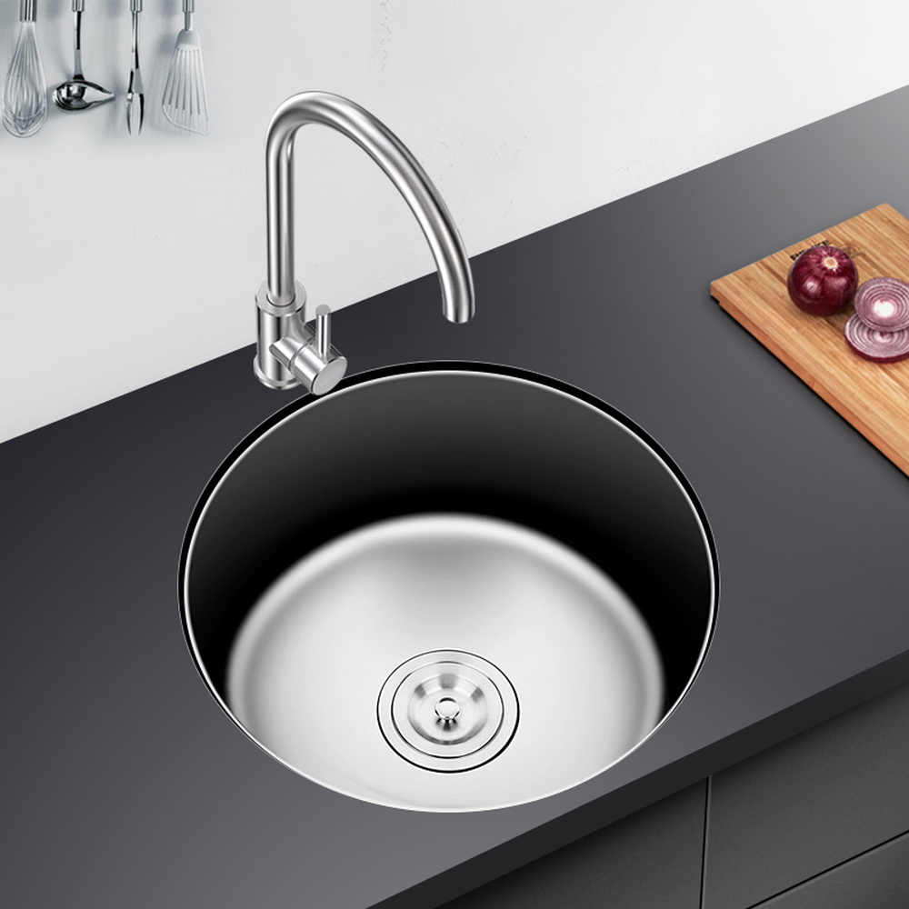 Kitchen Sink Single Groove 304 Stainless Steel Circular Flume With Water Ings Copper Faucet Cold And