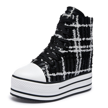 2019 New Vintage Women Boots Ankle Mujer Gingham Thick Bottom High Top Bootie Gothic Fashion Lace Up Hidden Wedge Muffin