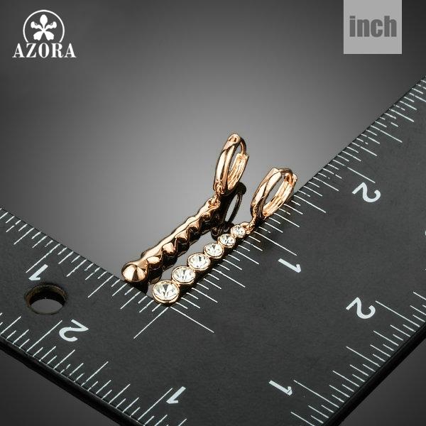 Rose Gold Color Row String White Austrian Rhinestone Drop Earrings TE0220 40292dea5440