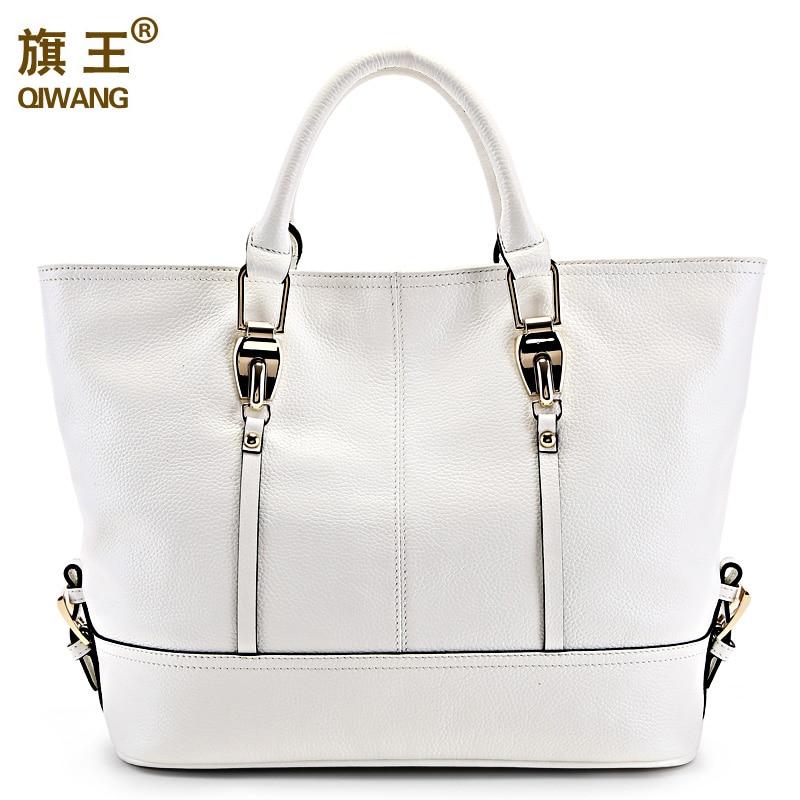 Qiwang luxe handtassen vrouwen tassen designer Lederen grote Capaciteit Tote Bag voor Dames Handtas bolsa feminina-in Top-Handle tassen van Bagage & Tassen op  Groep 3