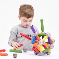 Large Magnet Toy Sticks & Metal Balls Magnetic Building Blocks Construction Toys For Baby Designer Educational Toy For Children