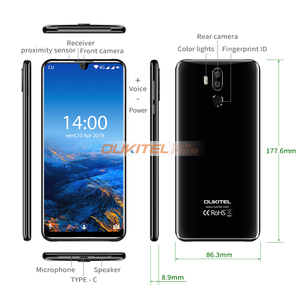 "Image 4 - OUKITEL K9 7.12 ""FHD + טיפת מים תצוגת 6000mAh סוללה 5V/6A מהיר טעינת Smartphone 4GB 64GB 16MP/8MP פנים מזהה נייד טלפון"