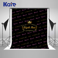 Kate Happy Birthday Background Photography 10x10ft Princess Crown Backgrounds For Photo Studio Birthday Washable Cotton Backdrop