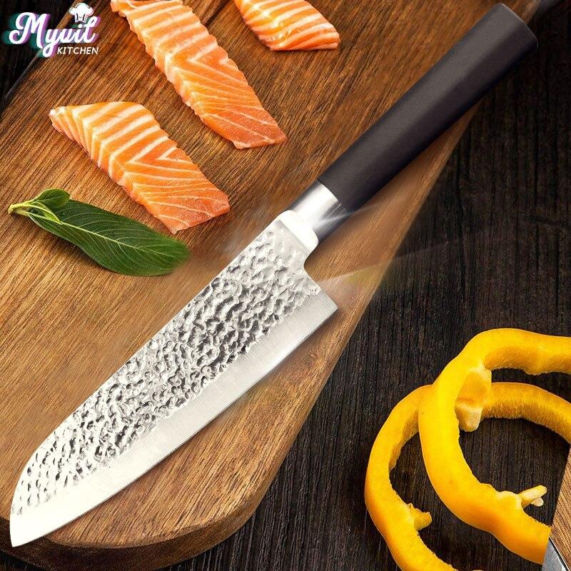 Cuchillo de cocina 7 pulgadas Chef cuchillos japoneses utilidad cuchillo Santoku cuchilla 50Cr15 420 de alta de acero inoxidable al carbono dropshipping. exclusivo.