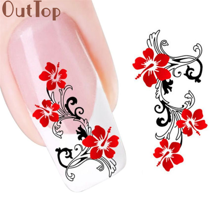 OutTop Manicure Tool   DIY Red Flowers Design Nail Tip Art Water Transfers Decal Sticker Nail Art Decorations 2017 June5 oc 08 diy 3d red wine bottle patterns decorative diy nail art sticker black red