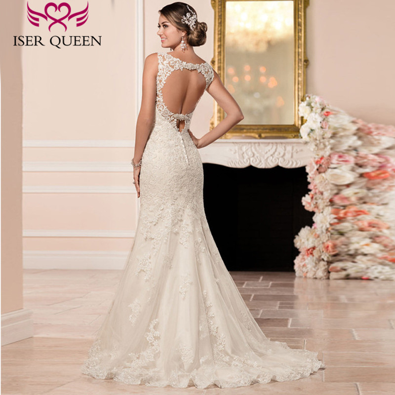 Beautiful Embroidery Appliques Plus Size Elegant Mermaid Wedding Dress Backless Court Train Beading Bridal Wedding Dresses