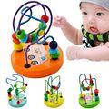 Lindo colorido juguete del bebé cómodo pulido liso de los granos se mueven alrededor línea de actividad de madera cubo montaña rusa cuentas toys-50