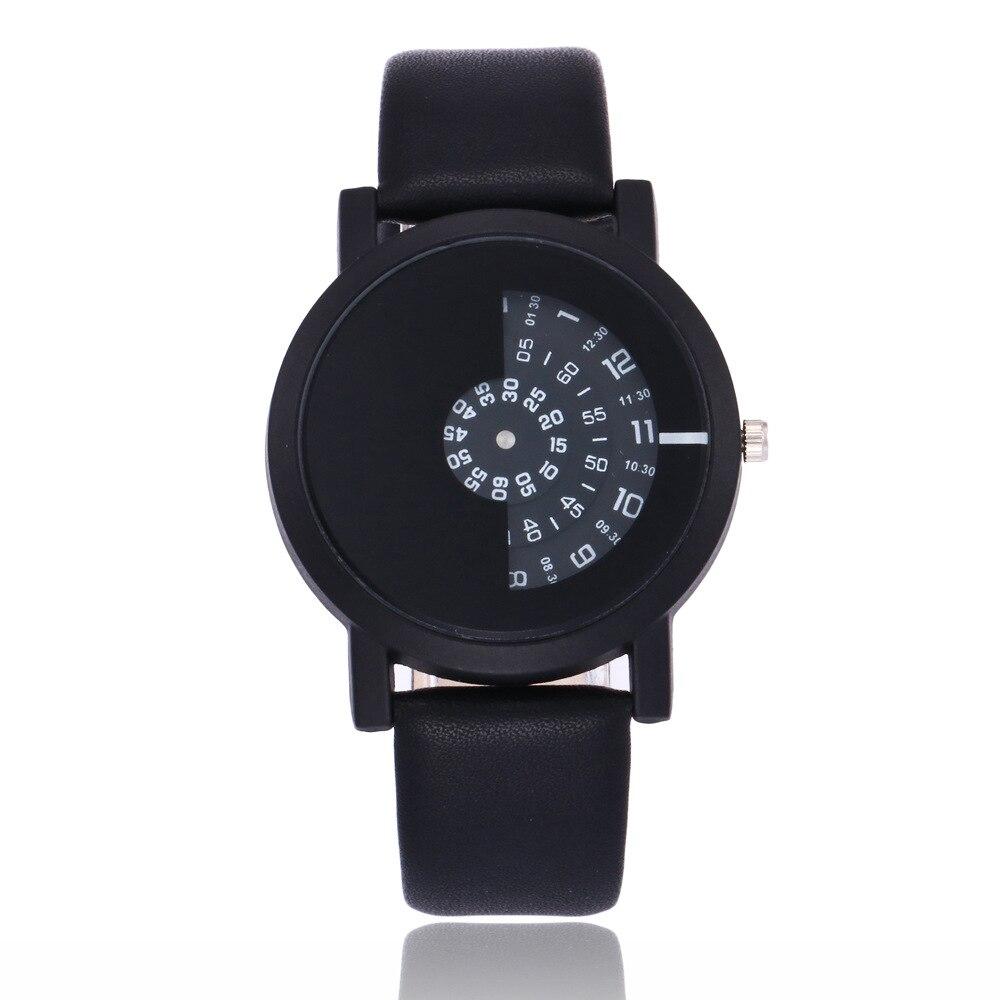Creative turntable Ladies Casual Watch Fashion Women Dress Watch Lovers' Leather Quartz Wristwatch Cute Men clock hours relojes