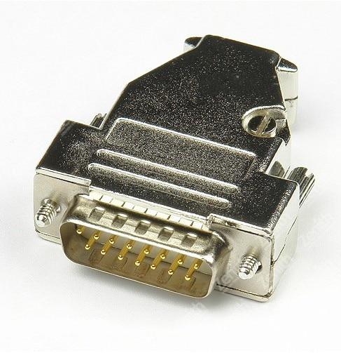 Top D-Sub 15-pin DB15 plug (male) solid pin module + removable metal housing 557t283nf5b05b d sub backshells ltwght sld band top m srw cl mr li
