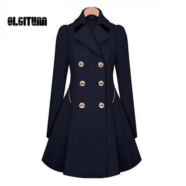 מעיל גשם חורף 2018 מכירה חמה נשים מעיל נשים מעיל רוח מותניים קלאסי היה רזה מעיל טרנץ נקבה ארוך שרוול מעיל