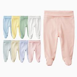 Детские штаны унисекс для новорожденных, хлопковые брюки с высокой талией для малышей 0-3-6 месяцев, штаны с сумкой для маленьких мальчиков и ...