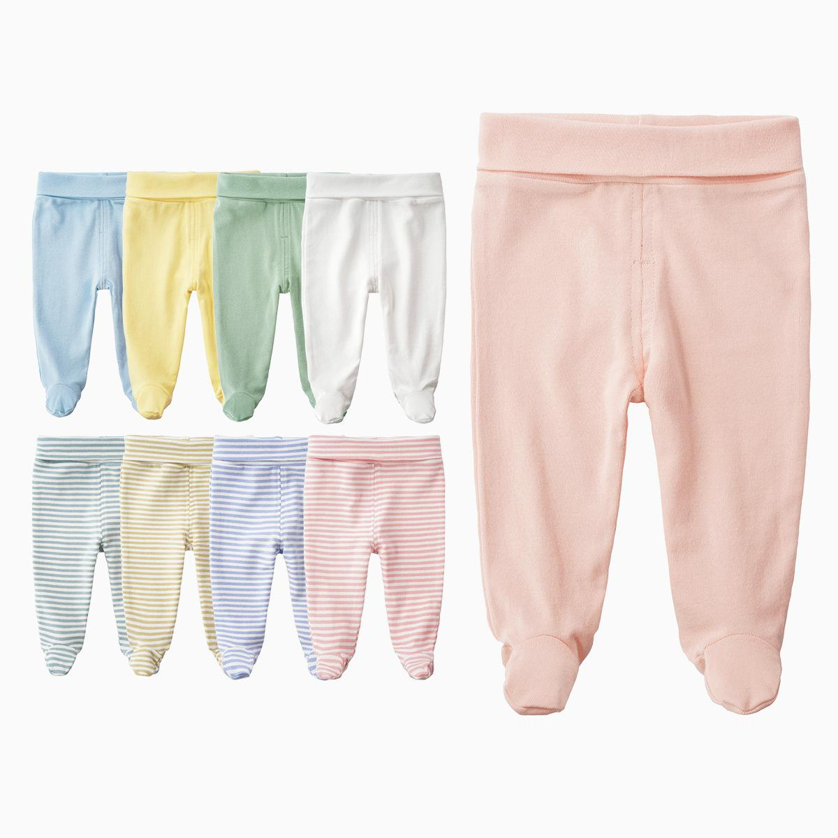 Newborn Unisex Baby Pants 0-3-6M Baby Cotton High Waist Trousers Infant Baby Boys Girls Bag Foot Pants Even Socks Baby Leggings