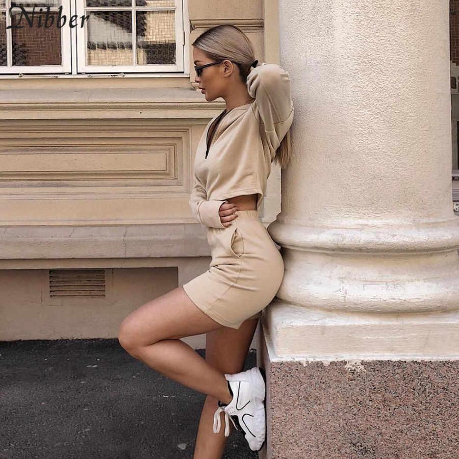 Nibber primavera moda Pantalones cortos con capucha de manga larga dos piezas traje 2019 nuevas señoras ropa deportiva ropa casual jogging Oficina señora conjuntos